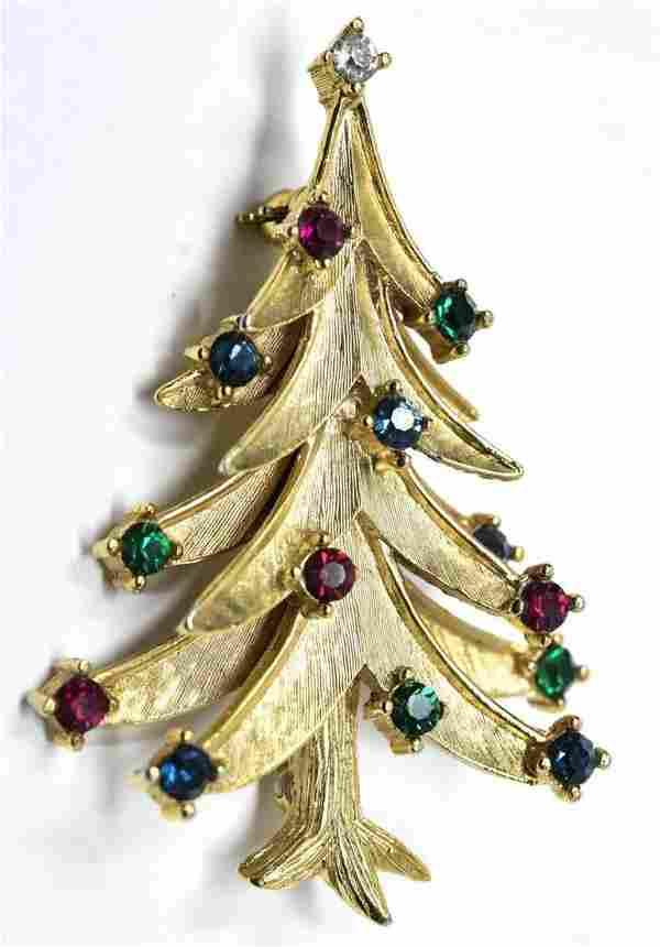 Vintage C 1970s Crown Trifari Christmas Brooch