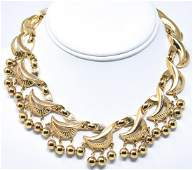 Vintage C 1950s Trifari Gilt Metal Collar Necklace