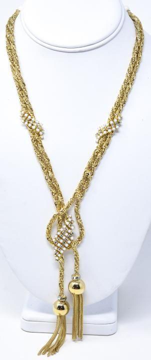 Vintage C 1960s Hobe Lariat Form Gilt Necklace