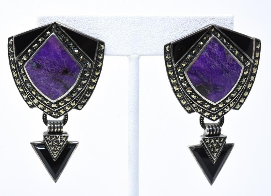 Pair of Large Sterling Lapis & Marcasite Earrings