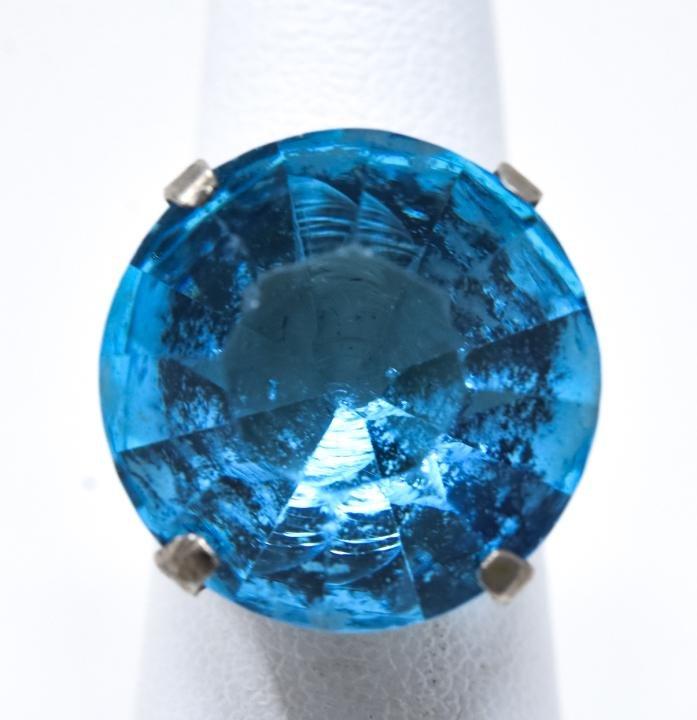 Vintage Sterling Silver & Aquamarine Paste Ring