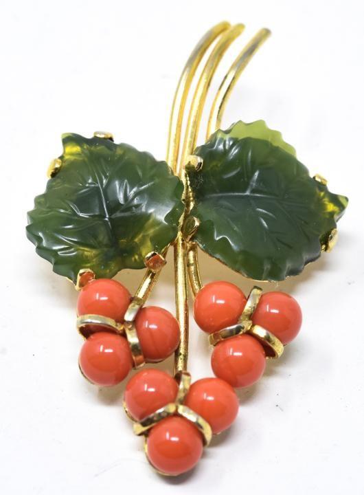 Vintage Gold Tone Carved Faux Jade Coral Brooch