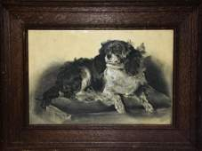 Antique Charcoal  Pencil Cavalier Dog Drawing