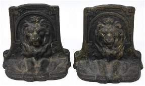 Pair of Antique Bronze Lion Motif Book Ends
