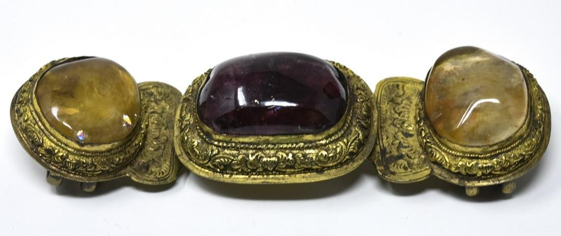Antique Chinese Gilt Metal W Natural Stone Buckle