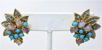 Pair Jomaz C 1970 Gilt Leaf Clip Earrings