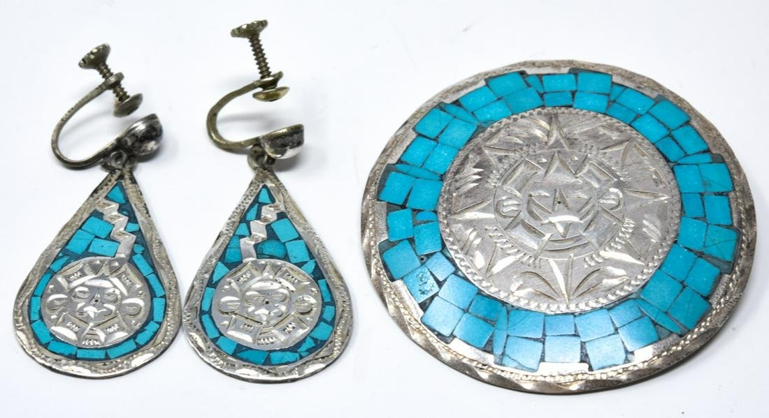 Mexican Sundial Sterling Turquoise Brooch Earrings