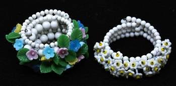 2 C 1950 White Glass Floral Design Bracelets