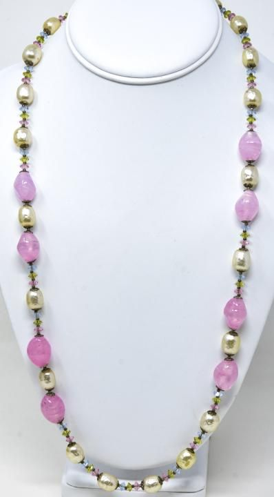 Vintage Signed Miriam Haskell Art Glass Necklace