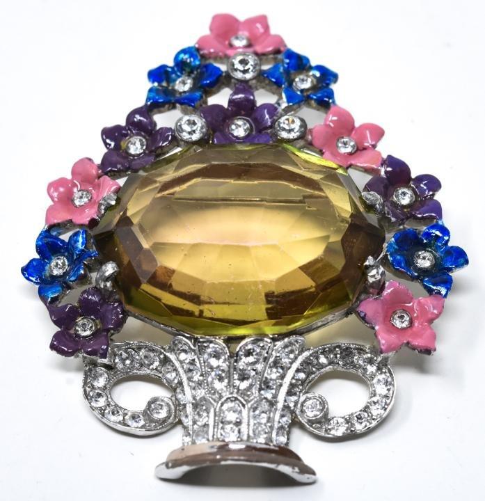 Vintage Coro Enamel & Rhinestone Floral Basket Pin
