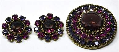 Vintage C 1965 Weiss Brooch & Clip on Earring Set