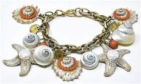Vintage C 1960s Charm Bracelet w Real Sea Shells