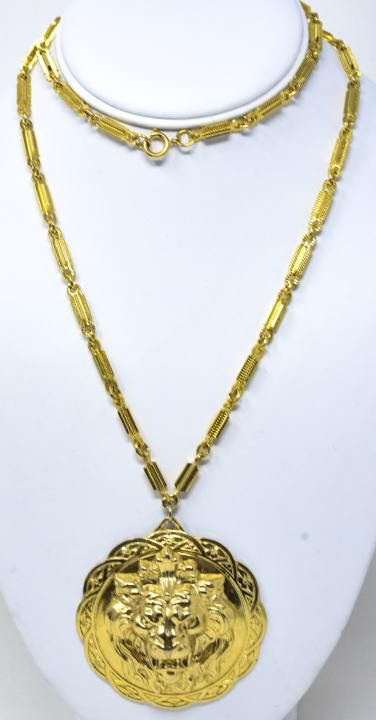 Vintage C 1970s Miriam Haskell Lion Gilt Necklace