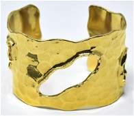 C 1990s Iman Hammered Gilt Metal Cuff Bracelet