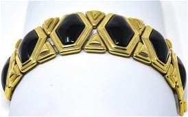 C 1990s Gilt Metal & Faux Onyx Panel Bracelet