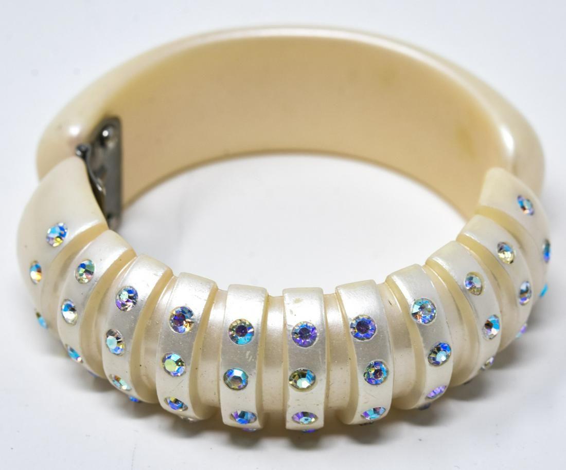 Vintage C 1960 Acrylic Rhinestone Clamper Bracelet
