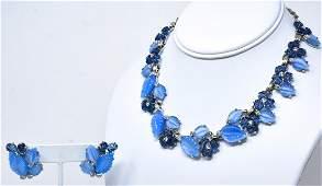 Rare Jomaz C 1970 Rhodium Necklace  Earring Set