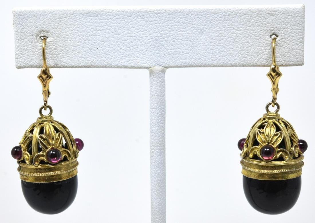 Pair Antique 14k Gold Onyx Garnet Earrings