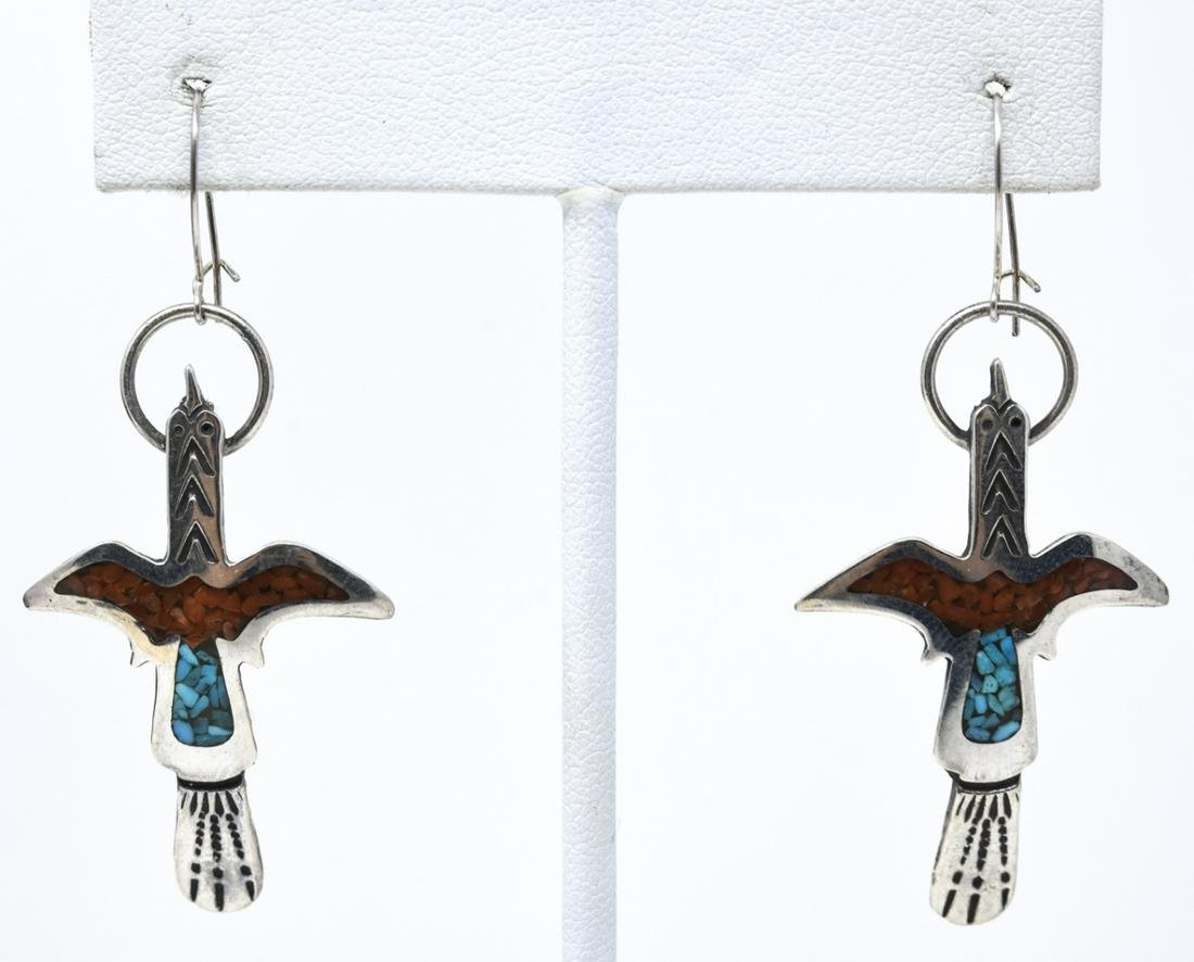 Sterling Turquoise Inlaid Thunderbird Earrings