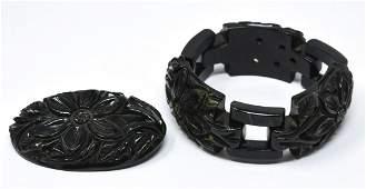 C 1940 Carved Green Bakelite Bracelet & Pin