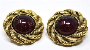 C 1988 Pr Chanel Ruby Glass Cabochon Clip Earrings