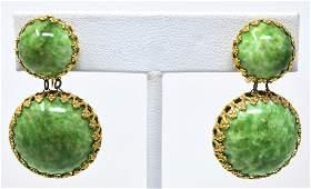 Pr Miriam Haskell C 1960 Green Glass Clip Earrings