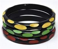 C 1960s 3 Black Bakelite Bangle Bracelets