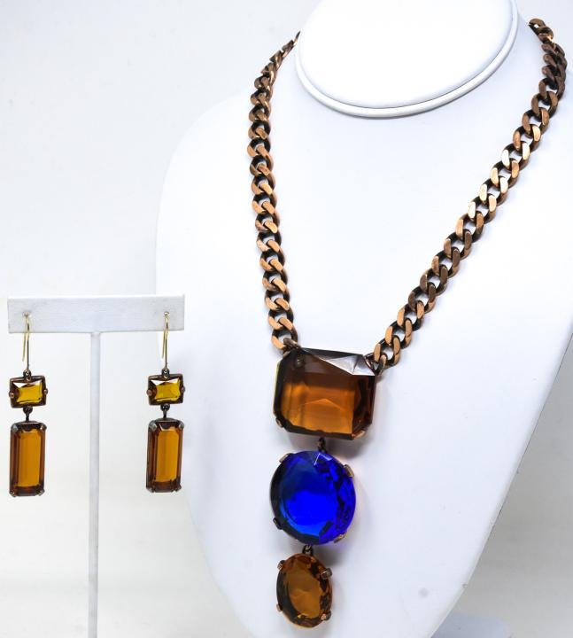 YSL Copper & Crystal Necklace & Pair Earrings
