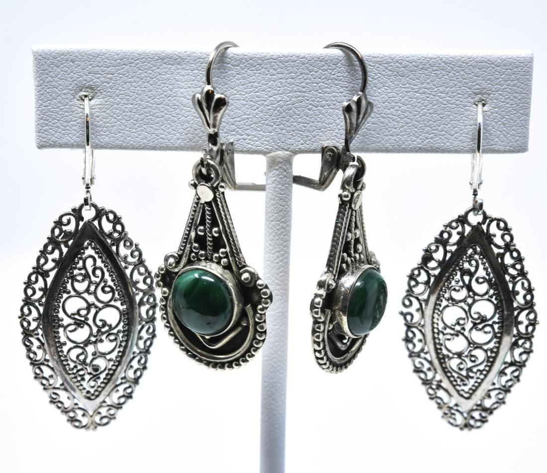 2 Pairs Sterling Silver & Malachite Drop Earrings
