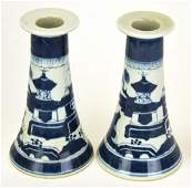 Chinese Canton Blue & White Porcelain Candlesticks