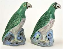 Pair Chinese Hand Painted Porcelain Parrot Statues