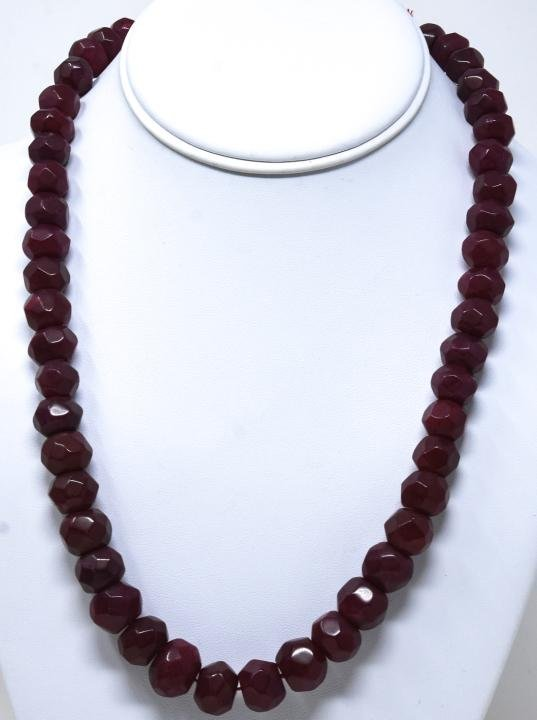 Hand Carved Faceted 550 Carat Ruby Necklace