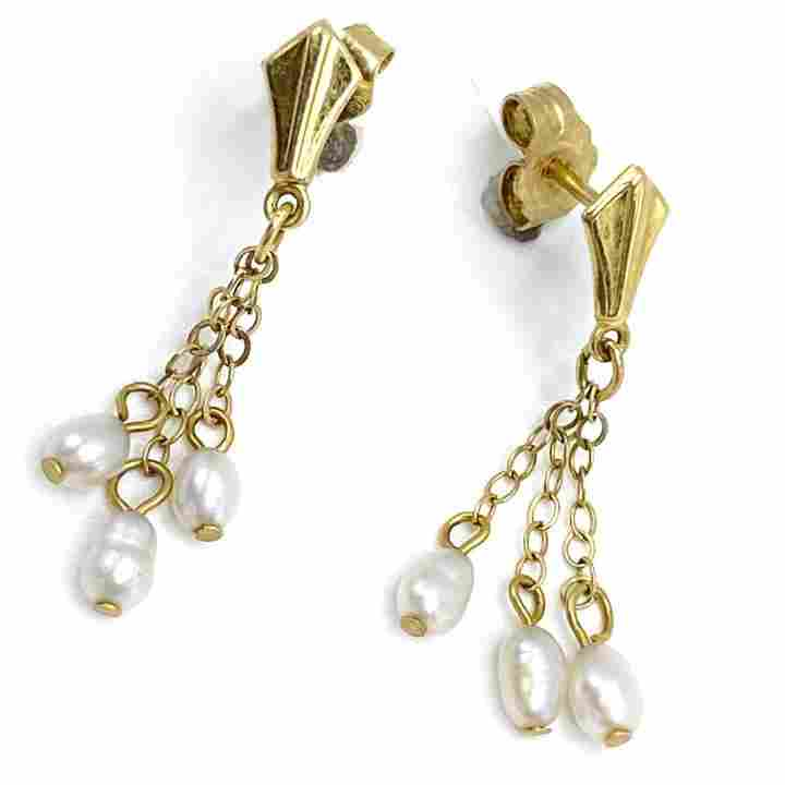 Vintage Freshwater Pearl & 14k Gold Earrings