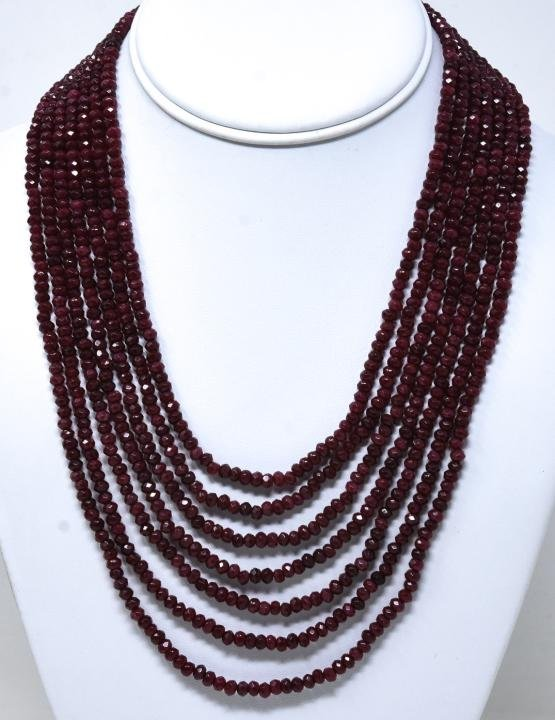 Seven Strand Graduated Length 425 Ct Ruby Necklace
