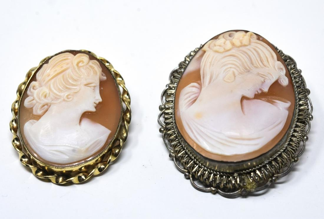 2 Antique Cameo Pendants - Silver Filigree & Gold