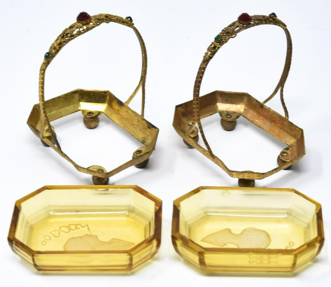 Pair of Antique Jeweled Ormolu Miniature Baskets