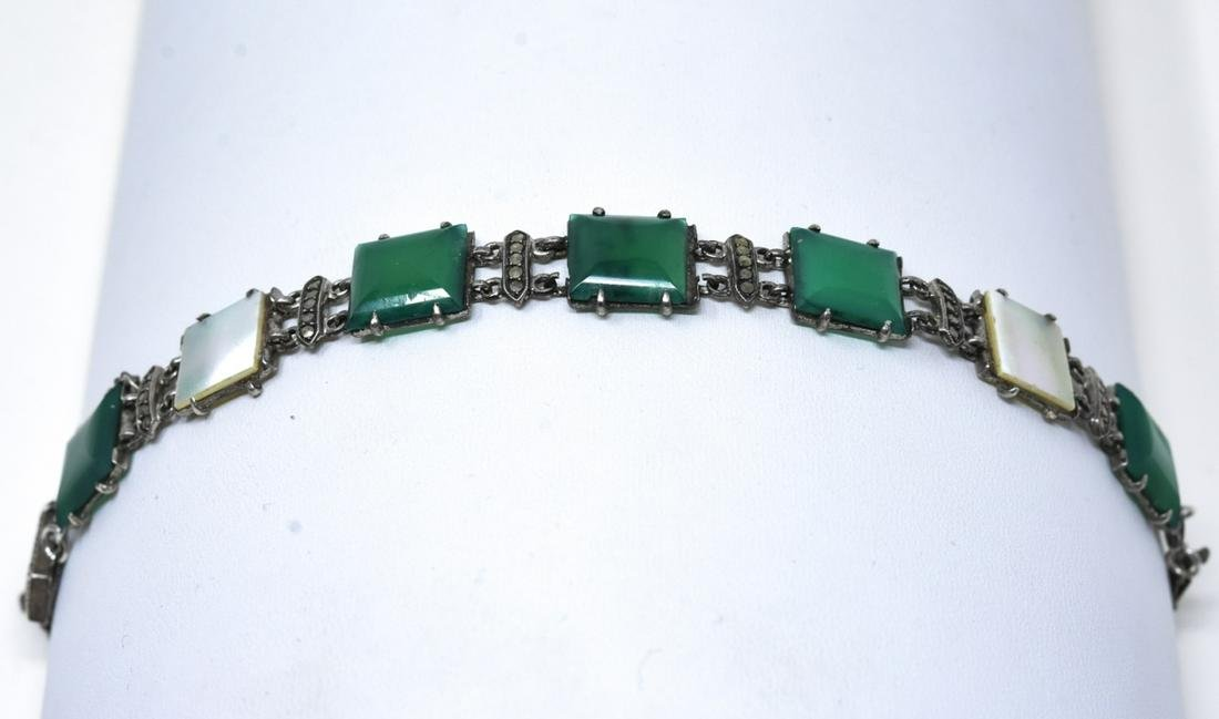Art Deco Sterling Green Onyx & Marcasite Bracelet