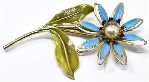 Vintage Costume Jewelry Enamel Floral Motif Brooch