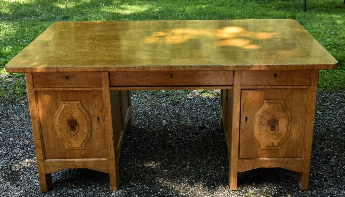 Antique German Biedermeier Burled Wood Desk