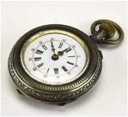 Antique 19th C 800 Silver & Enamel Pocket Watch