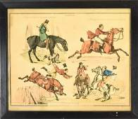 London Hunting Scene Hand Colored Engraving