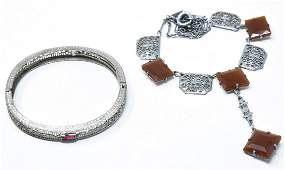 Art Deco Festoon Carnelian Necklace Bracelet