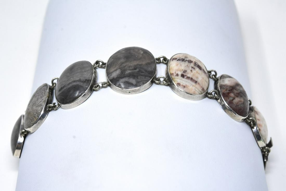 Vintage Handmade Sterling & Jasper Bracelet