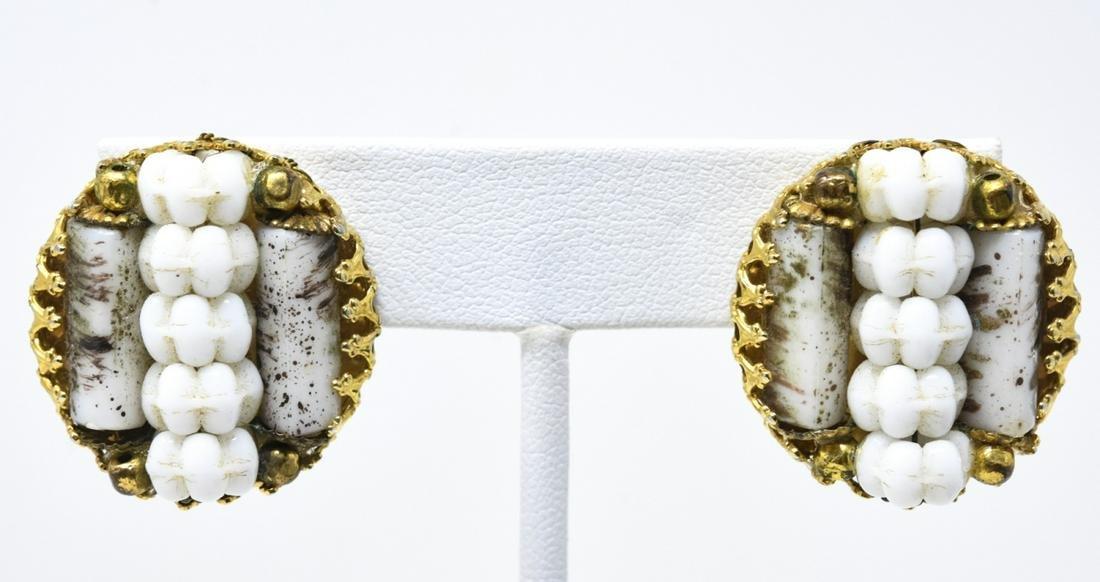 Hobe Gold Tone Art Glass & Milk Glass Clip Earring