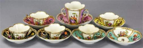 6 Antique Meissen Augustus Rex Cups and Saucers