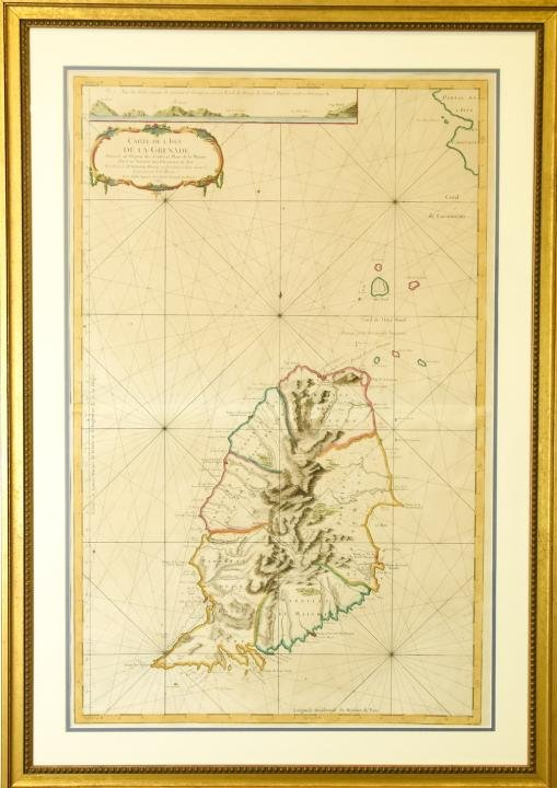 Antique Framed Hand Colored Large Map of Grenada