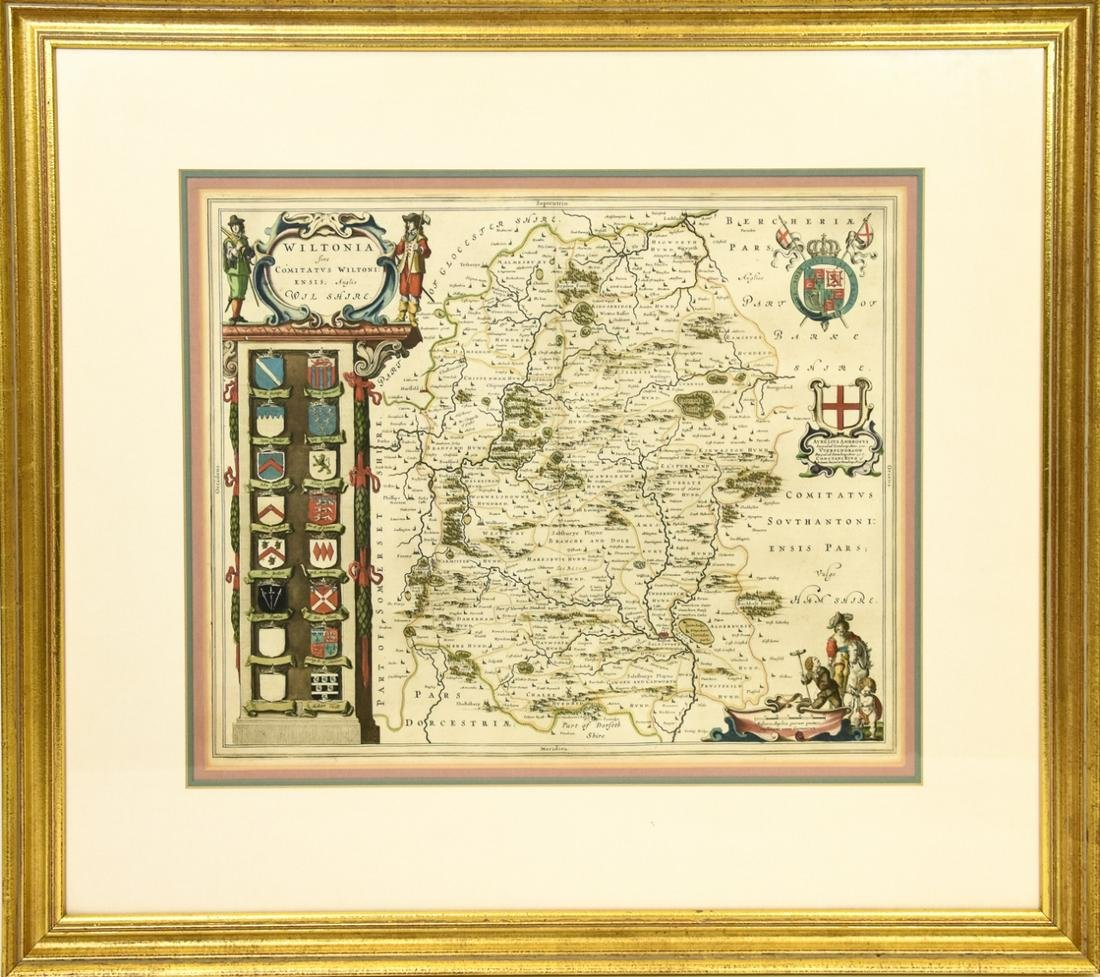 Framed Hand Colored Map of  Wilshire, England