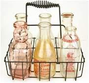 Antique Glass Milk Bottles & Wire Holder