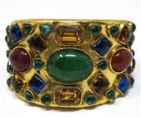 Vintage Chanel Cuff Bracelet w Gripoix Glass