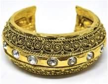 Vintage Chanel Gilt Metal Cuff Bracelet